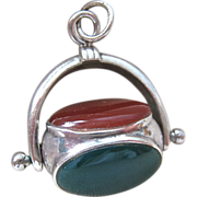 SALE Sterling Silver 925 Spinner Fob Pendant Gemstones