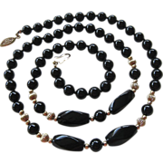 SALE Black Onyx Bead Necklace Gold Filled Spacers Clasp Hand Knotted
