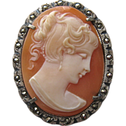 SALE Silver Marcasite Shell Cameo Brooch Pendant