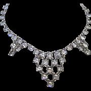 SALE Art Deco Sterling Silver 925 Clear Paste Necklace Choker