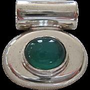 Sterling Silver 925 Chrysoprase Slide Pendant