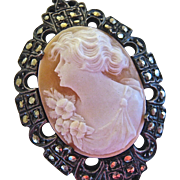 SALE Sterling Silver 925 Marcasite Shell Cameo Pendant Germany