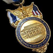 SOLD DAR Constitution Hall Commemorative Medal Ribbon Badge Gold Tone Enamel Signed