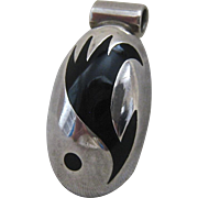 Sterling Silver 925 Black Enamel Slide Pendant Mexico Abstract