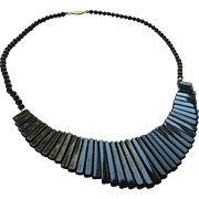 SALE Black Onyx Graduated Fringe Necklace 14K Filigree Clasp