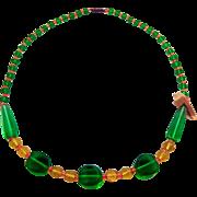 SALE Czech Glass Necklace Green Yellow Orange