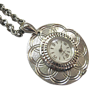 Vintage Caravelle Pendant Watch Necklace Silver Tone