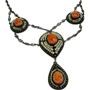 SALE Carved Coral Cameo Seed Pearl Sterling Silver Cannetille Festoon Necklace Breath Taking