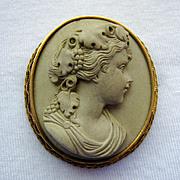 SALE 14K Gold Lava Cameo High Relief Bacchante Etruscan Revival Victorian (c. 1880)