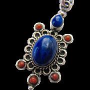 Sterling Silver 925 Blue Gemstone Lapis Coral Pendant