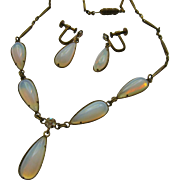 SALE Opaline Opalescent Opalite Glass Dangle Choker Necklace Earrings