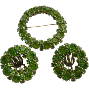Weiss Green Rhinestone Circle Earring and Brooch Pin Set Demi Parure Signed