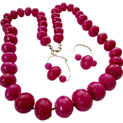 SALE Large Faceted Fuchsia Gemstone Bead Necklace & Earring Set