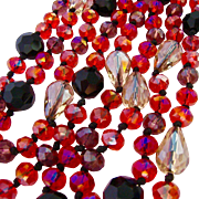 Sparkling Red Black Faceted Glass AB Bead Necklace Hand Knotted Endless 51 inches.