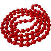 Really Red Glass Bead Necklace Endless 36 Inches