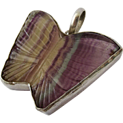 Sterling Silver 925 Multi-Color Carved Gemstone Butterfly Pendant