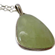 Large Green Gemstone Sterling Silver Pendant on Sterling Chain Necklace