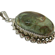 Sterling Silver 925 and Colorful Jasper Cabochon Pendant