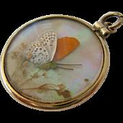 8K-9K Gold Double Sided Butterfly Wing Glass Locket Pendant