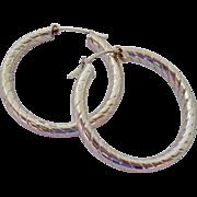 Large Sterling Silver 925 Hoop Earrings Spiral Ribs