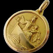 14K Gold Two Sided Christian Religious Pendant Medal