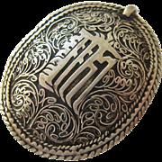 Silver Tone Pendant Ornate Design 3-D Domed Possibly Arabic