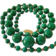 Graduated Green Gemstone Bead Necklace 25 Inches