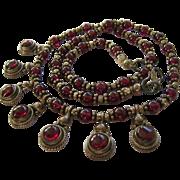 Garnet Sterling Silver 925 Fringe Necklace