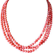 Three 3 Strand Coral Glass Bead Necklace Sterling Silver Clasp