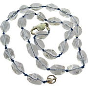 SALE Clear Rock Crystal Smooth Nugget Necklace Sterling Silver 925 Clasp