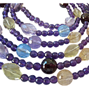 Amethyst, Blue Topaz, Citrine, Garnet Gemstone Necklace Over 52 Inches Long 296 Carats Gem Wei