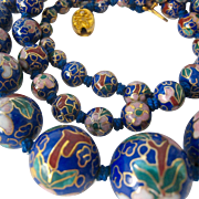 SALE Graduated Cloisonne Bead Necklace Hand Knotted Filigree Clasp Royal Blue Background