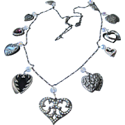 SALE Heart Charm Necklace and Earrings Set Valentine's Day Unsigned Pididdly Links