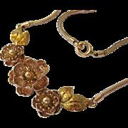 Krementz Two Tone Gold Plate 3-D Floral Necklace Choker