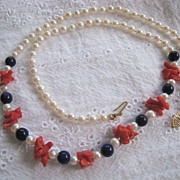 SALE Pearl Lapis & Coral Necklace 14K Clasp Red White & Blue