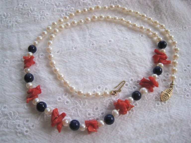 Pearl Lapis & Coral Necklace 14K Clasp Red White & Blue