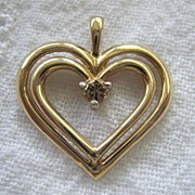 SALE Heart Within Heart 10K Gold Pendant With Canary Yellow Diamond
