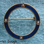 Carter Gough 14K Gold Cobalt Enamel Guilloche Circle Sash Pin Seed Pearls