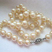 Classic Glass Pearl Necklace Strand Sterling Silver 925 Clasp Hand Knotted