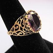 Vintage 14K Gold Open Work Ring Amethyst Paste