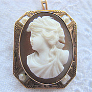 SALE 10K Rose Gold Octagonal Framed Hard Stone Cameo Pearl Insets Pin Pendant Signed