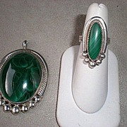 Fabulous Signed Silver and Malachite Ring & Pendant