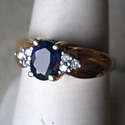 Stunning 10k Gold Sapphire & Diamond Ring