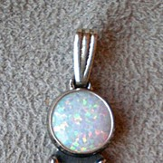 Beautiful Sterling Opal & Amethyst Pendant