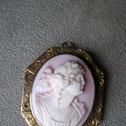 Gorgeous Hard Stone Cameo Brooch with 10k Gold Frame