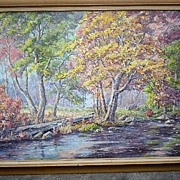 "Original California Artist ""Margaret Morrish"" (1893-1975) Large Trees Oil Painting"