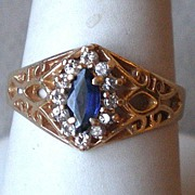 Gorgeous 14k Gold with Sapphire and Diamond Ring