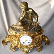 SOLD Stunning Antique French Figural Mantel Clock