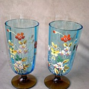 Matched Pair Bohemian Glass Tumblers with Enamel Flowers