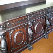 REDUCED Magnificent Antique Carved Lion Side Board - Wow!